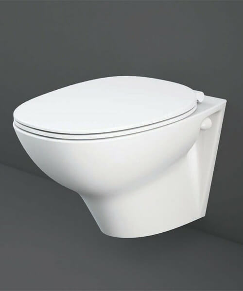 RAK Morning Rimless Wall Hung Toilet With Exposed Fitting And Soft Close Seat
