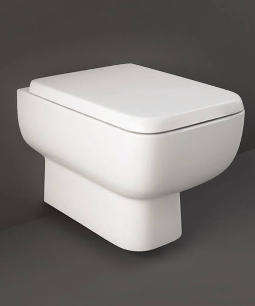 RAK Series 600 Rimless Wall Hung WC Pan With Hidden Fixations And Urea Soft Close Seat