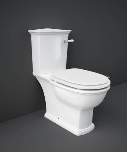 RAK Washington Close Coupled WC With Front Lever Cistern And Soft Close Wood Seat