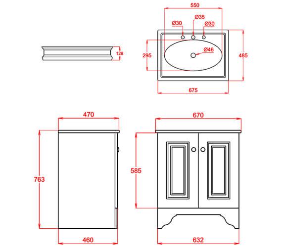 Technical drawing 65075 / VCGRE670SQ1THWHI