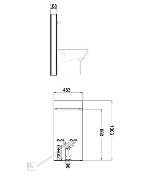Technical drawing 62826 / FS12RAKCAB01