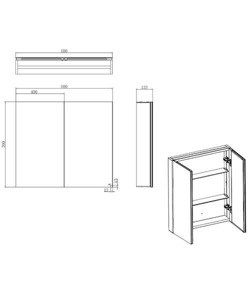 Additional image of RAK Gemini Alluminium Mirrored Bathroom Cabinet