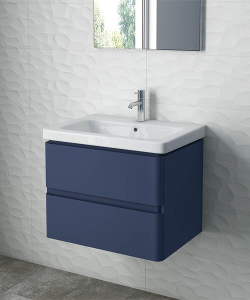 RAK Resort 650mm Wide Wall Hung 2-Drawer Vanity Unit With Basin