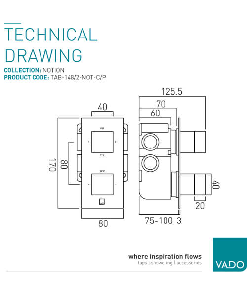 Alternate image of Vado Tablet Notion 1 Outlet Thermostatic Shower Valve