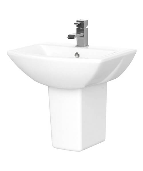 Nuie Asselby 500mm Single Tap Hole Basin And Semi Pedestal