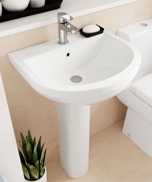 Alternate image of Nuie Ivo 550mm Wall Mounted 1 Tap Hole Basin With Semi Pedestal
