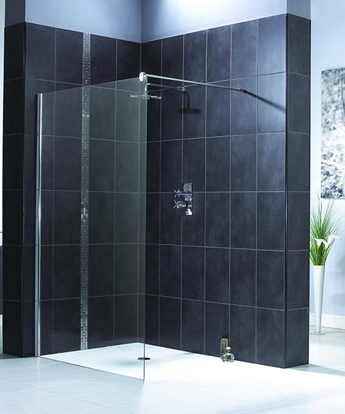 Aqualux Shine Shower Panel In Polished Silver Effect 1000mm