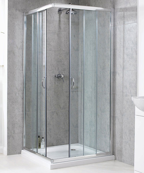 Aqualux Shine Corner Entry Shower Enclosure 900mm Polished Silver