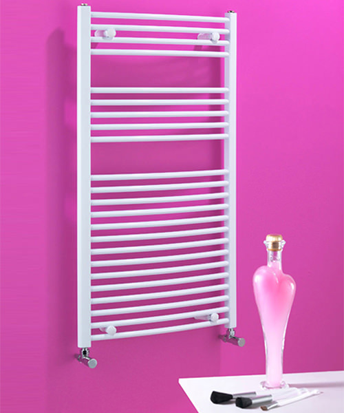 Biasi Dolomite Curved White Heated Towel Rail 600 x 1100mm