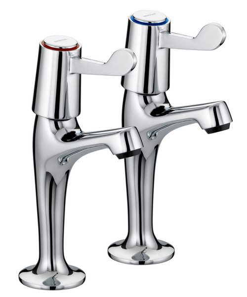 Bristan Value Lever High Neck Sink Pillar Taps With 152mm Levers