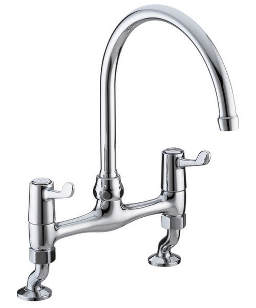 Bristan Value Lever Bridge Kitchen Sink Mixer Tap With 152mm Levers
