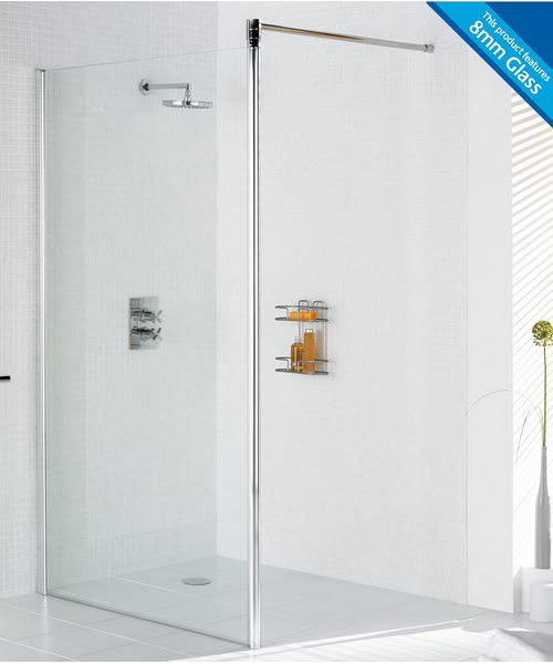 Lakes Classic Semi Frameless Shower Screen 800 x 1900mm Silver