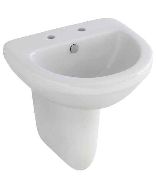 Pura Ivo Compact 2 Tap Hole 500mm Basin And Half Pedestal