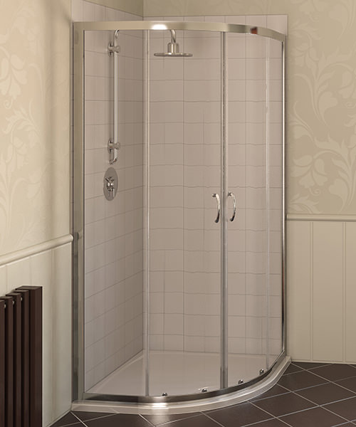 Aqualux Aqua 4 900 x 900mm Quadrant Shower Enclosure - Polished Silver