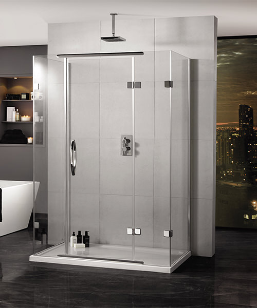 Aquadart Inline 900 x 800mm 3 Sided Hinged Shower Door And Side Panels