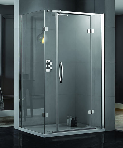 Aquadart Inline 1400 x 900mm 2 Sided Hinged Shower Door And Side Panel