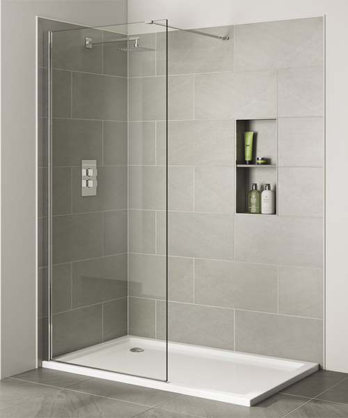 April Prestige Frameless 1600mm x 2000mm Wetroom Clear Glass Panel