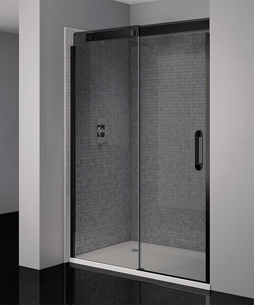 April prestige frameless 1200mm smoked black sliding for 1800mm high shower door
