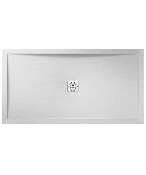 April Waifer 1600 x 800mm Rectangular Slate Effect White Shower Tray
