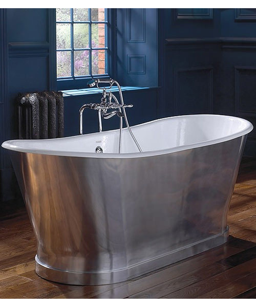 Imperial Radison Cast Iron Bath In Polished Aluminium 1700 x 725mm