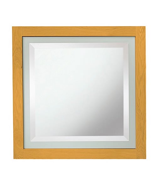 Imperial Linea Mirror With Opaque Feature Glass Border Natural Oak