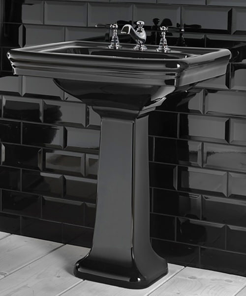 Imperial Etoile Black Large Basin 700mm And Pedestal