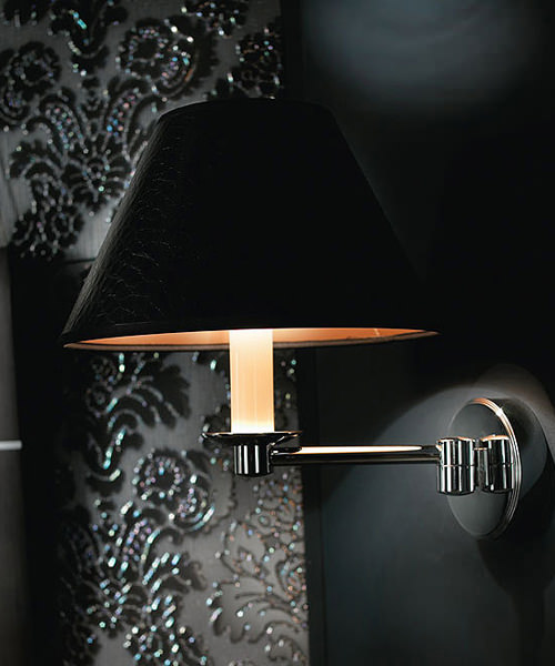 Imperial Brokton Wall Light With Black Leather Shade