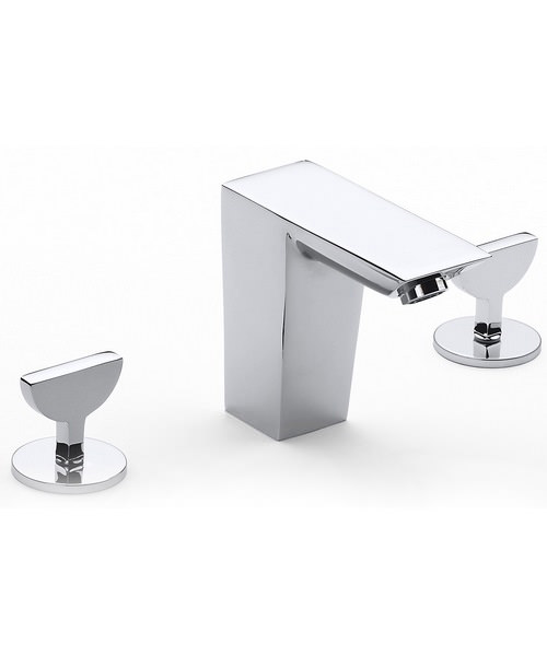 Roca Touch Deck Mounted 3 Hole Basin Mixer Tap With Pop Up Waste