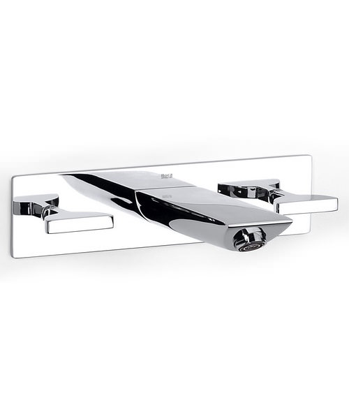 Roca Touch Wall Mounted Basin Mixer Tap On Chrome Plate