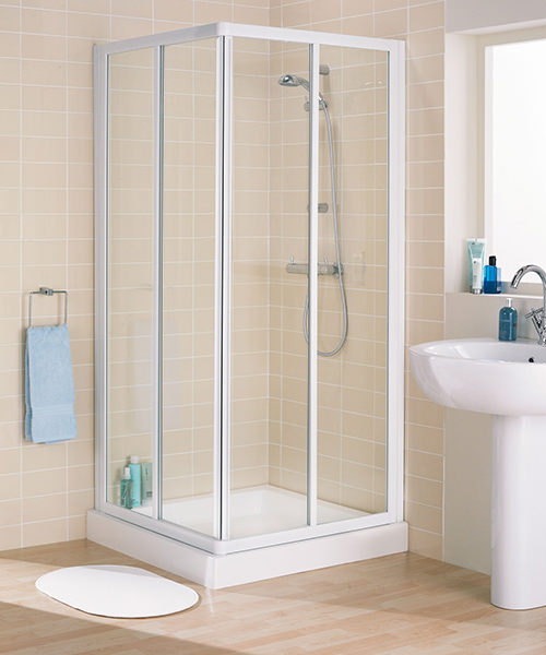 Lakes Classic Framed Corner Entry Slider Door 900mm White