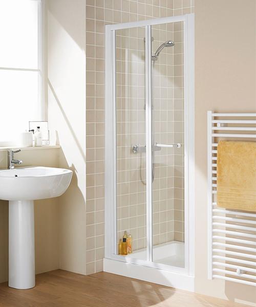 Lakes Classic Bi-Fold Door Semi-Frameless - White - W 700 x H 1850mm
