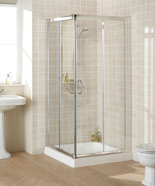 Lakes Classic Semi-Frameless Corner Entry Shower Enclosure 100cmSilver