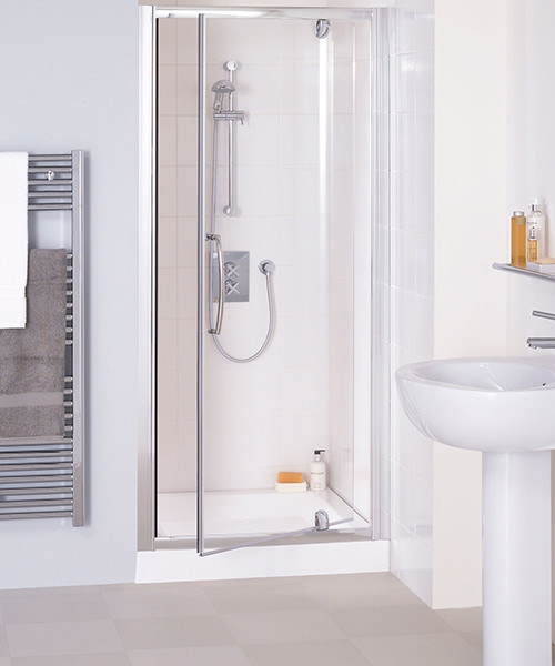 Lakes Classic Semi-Frameless Pivot Shower Door 800 x 1850mm Silver