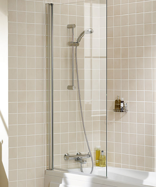 Lakes Classic Square Bath Screen With Towel Rail 800mm Silver