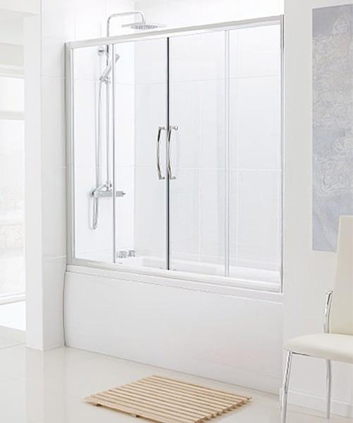 Lakes Classic Over Bath Semi-Frameless Double Slider Door 1700mm