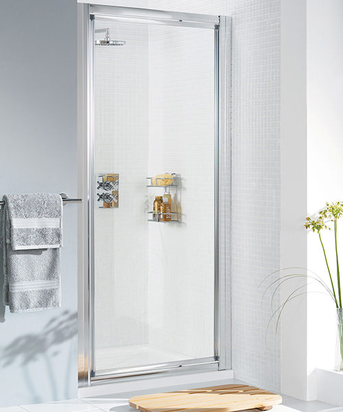 Lakes Classic Silver Framed Pivot Door - W 700 x H 1850mm