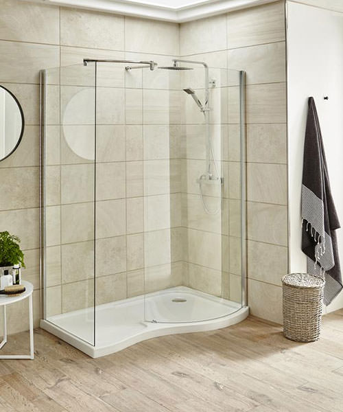 Lauren Pacific Universal Curved 1400 x 906mm Walk-In Shower Enclosure