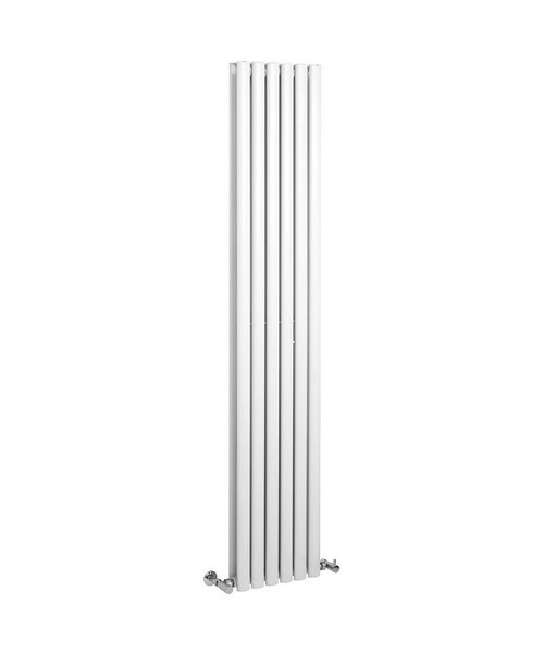 Lauren Ricochet Double Panel 354 x 1800mm White Vertical Designer Radiator