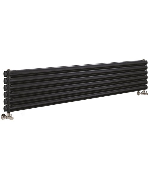 Lauren Ricochet Double Panel 1800 x 354mm Black Horizontal Designer Radiator