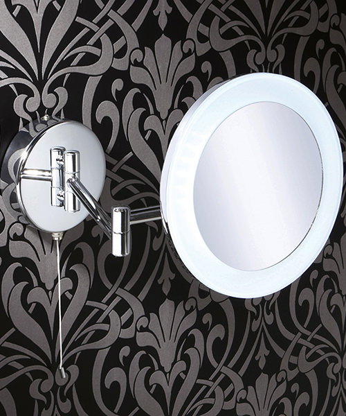 HIB Leo Round LED Illuminated Magnifying Bathroom Mirror