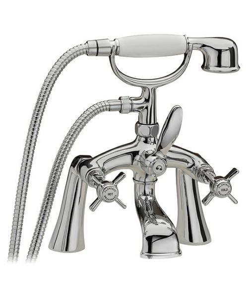 Tre Mercati Florence Pillar Bath Shower Mixer Tap With Shower Kit Chrome