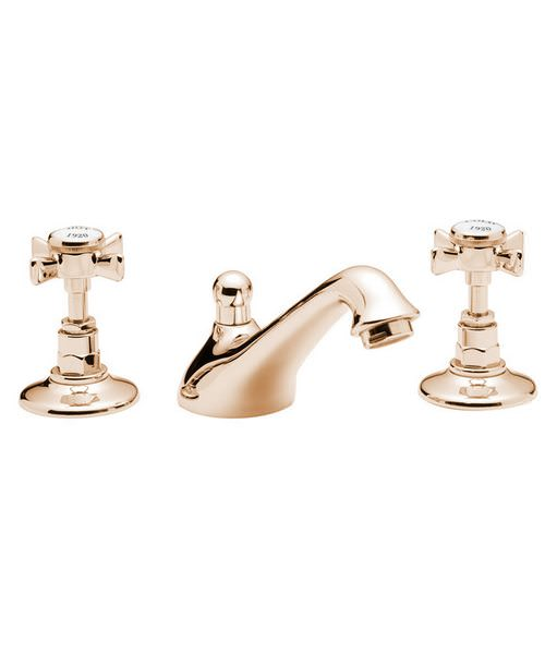 Tre Mercati Imperial Antique Gold 3 Hole Basin Mixer Tap With Pop Up Waste