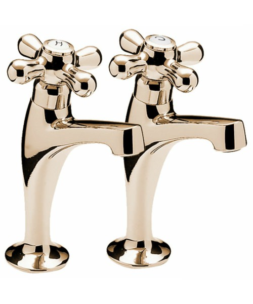 Tre Mercati Series 900 Crosshead High Neck Pillar Taps Gold