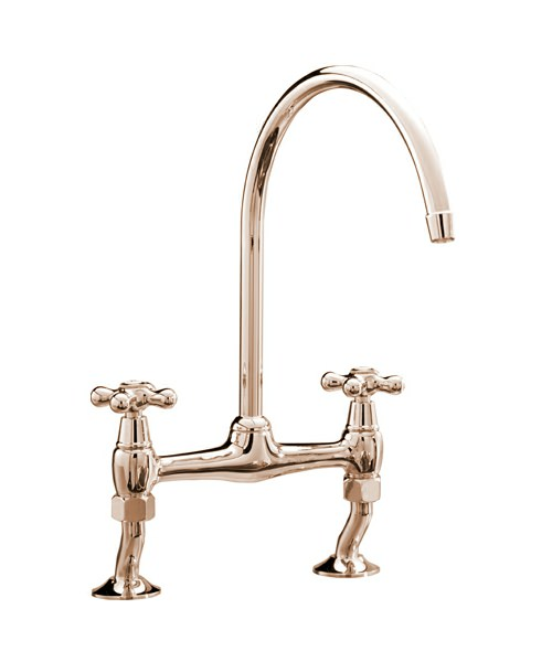 Tre Mercati Series 900 Crosshead Bridge Pillar Sink Mixer Tap Gold