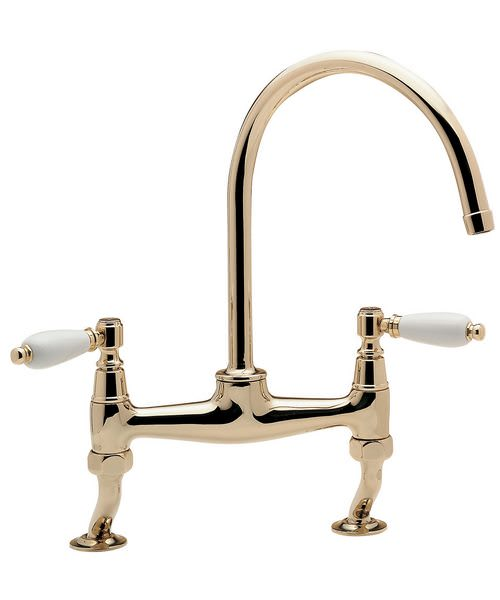 Tre Mercati Series 900 Lever Dual Flow Bridge Pillar Sink Mixer Tap Gold