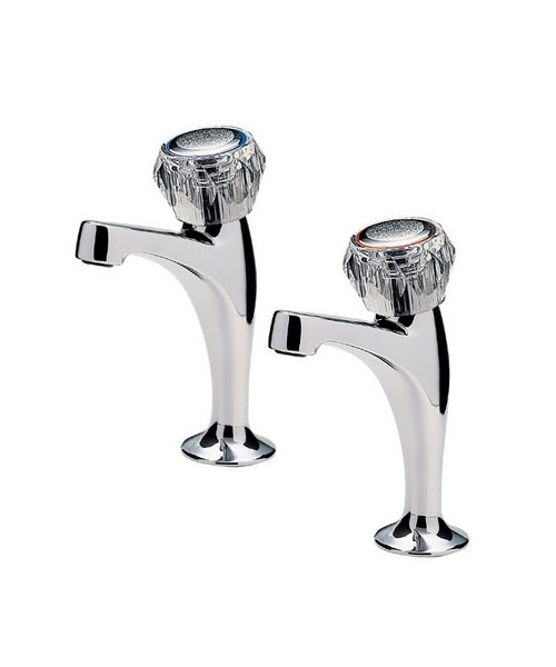 Tre Mercati Capri Pair Of High Neck Pillar Tap With Clear Head Chrome