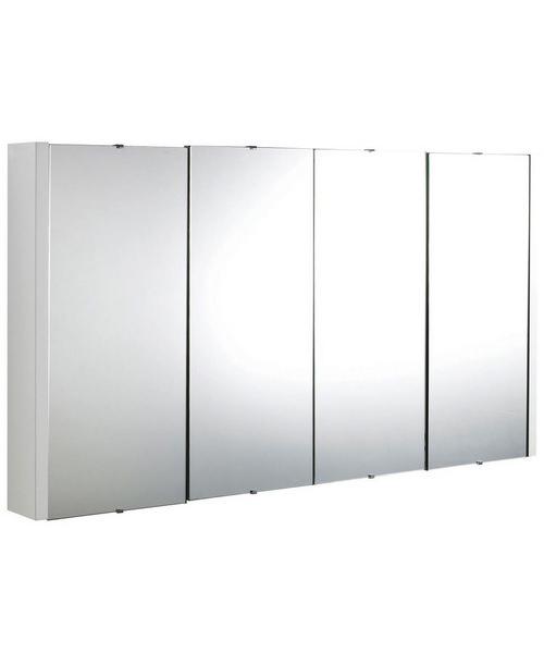 Nuie Eden 1180mm x 650mm White High Gloss 4 Door Mirror Cabinet