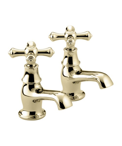 Bristan Colonial Gold Plated Bath Taps Pair