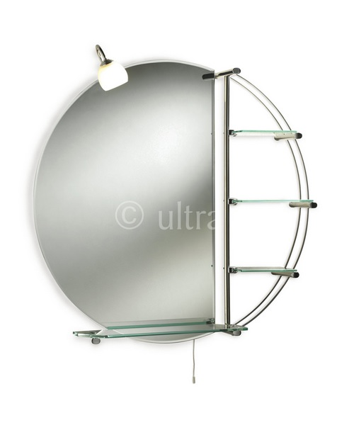 Ultra Magnum Round Mirror With Shelves And Light