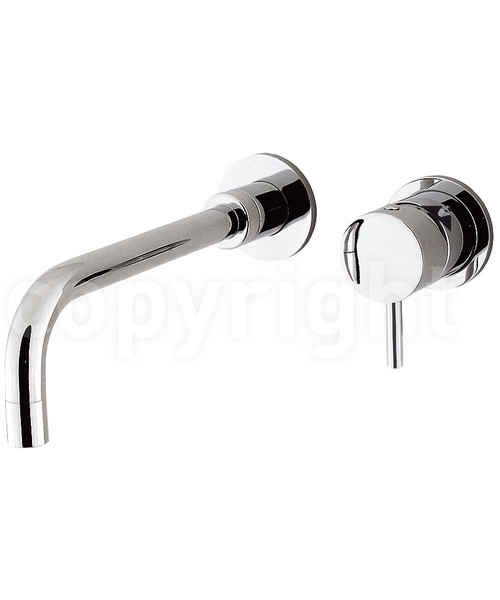 Crosswater Kai Lever Wall Mounted Chrome 2 Hole Basin Mixer Tap Set